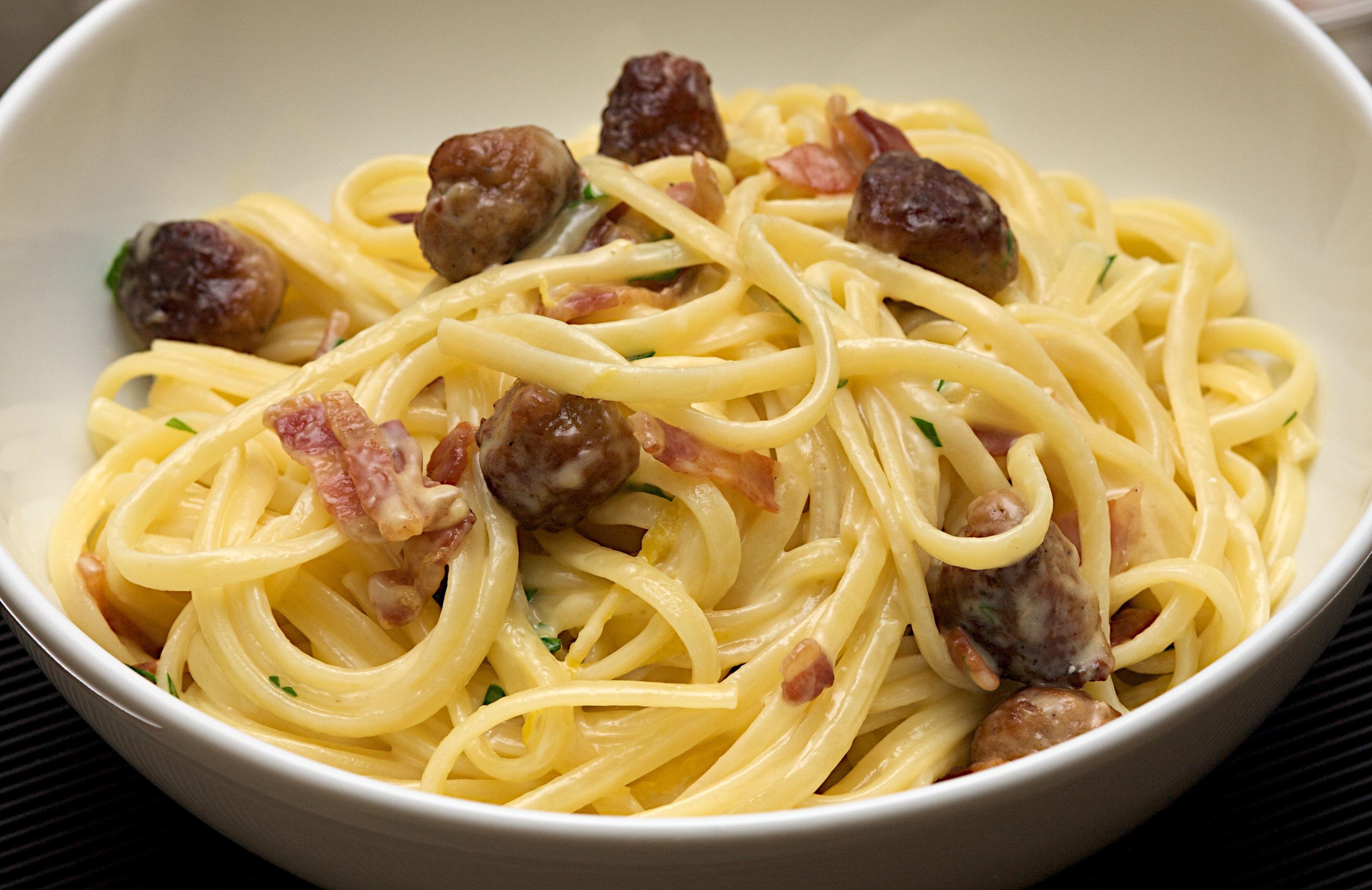 Sausage carbonara pasta recipe