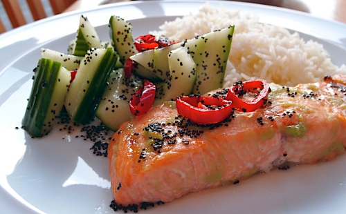 Wasabi Marinated Salmon With Cucumber Salad Recipe — Dishmaps