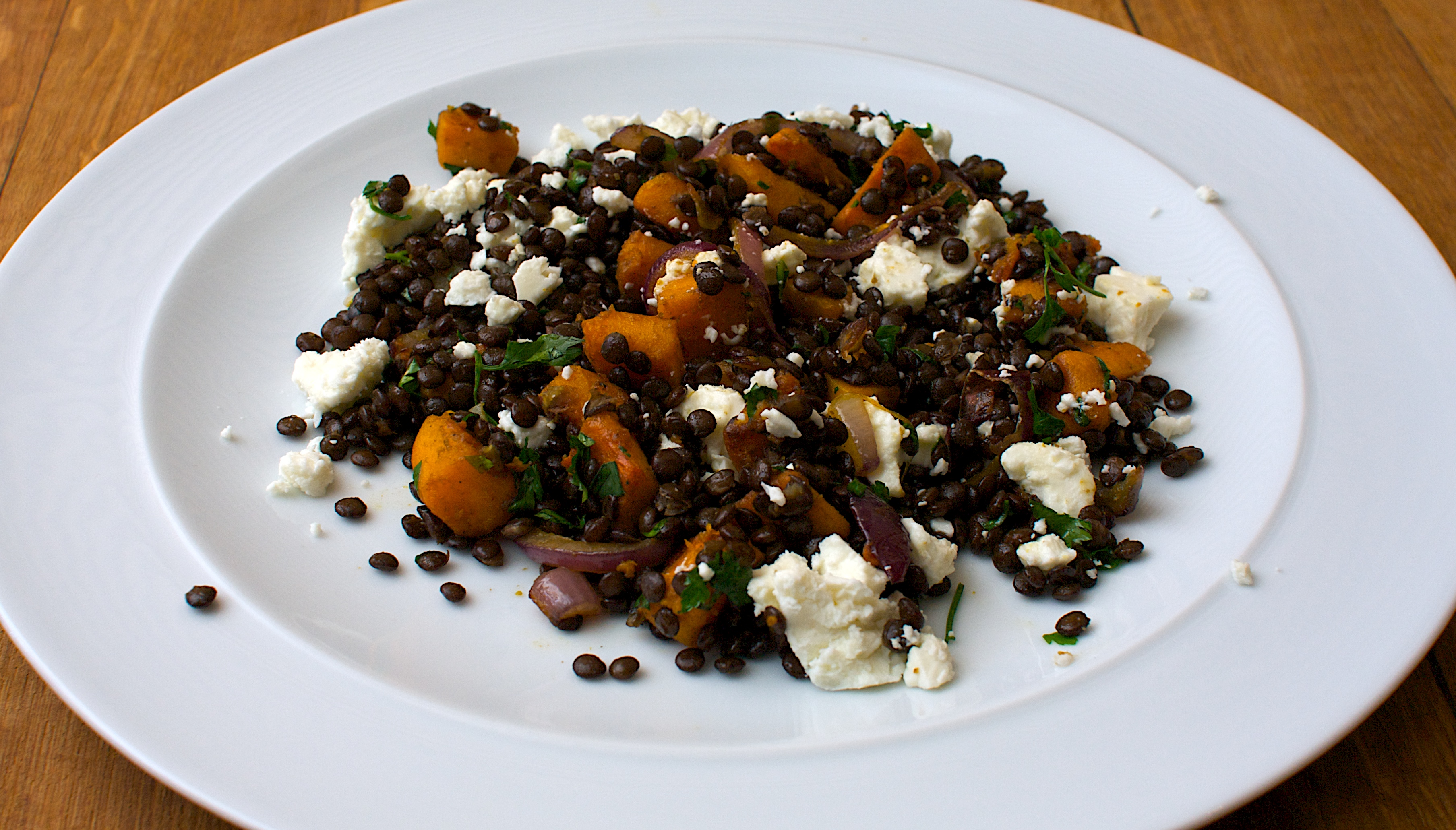 Beluga Lentil Butternut And Feta Salad Jono Jules Do Food Wine