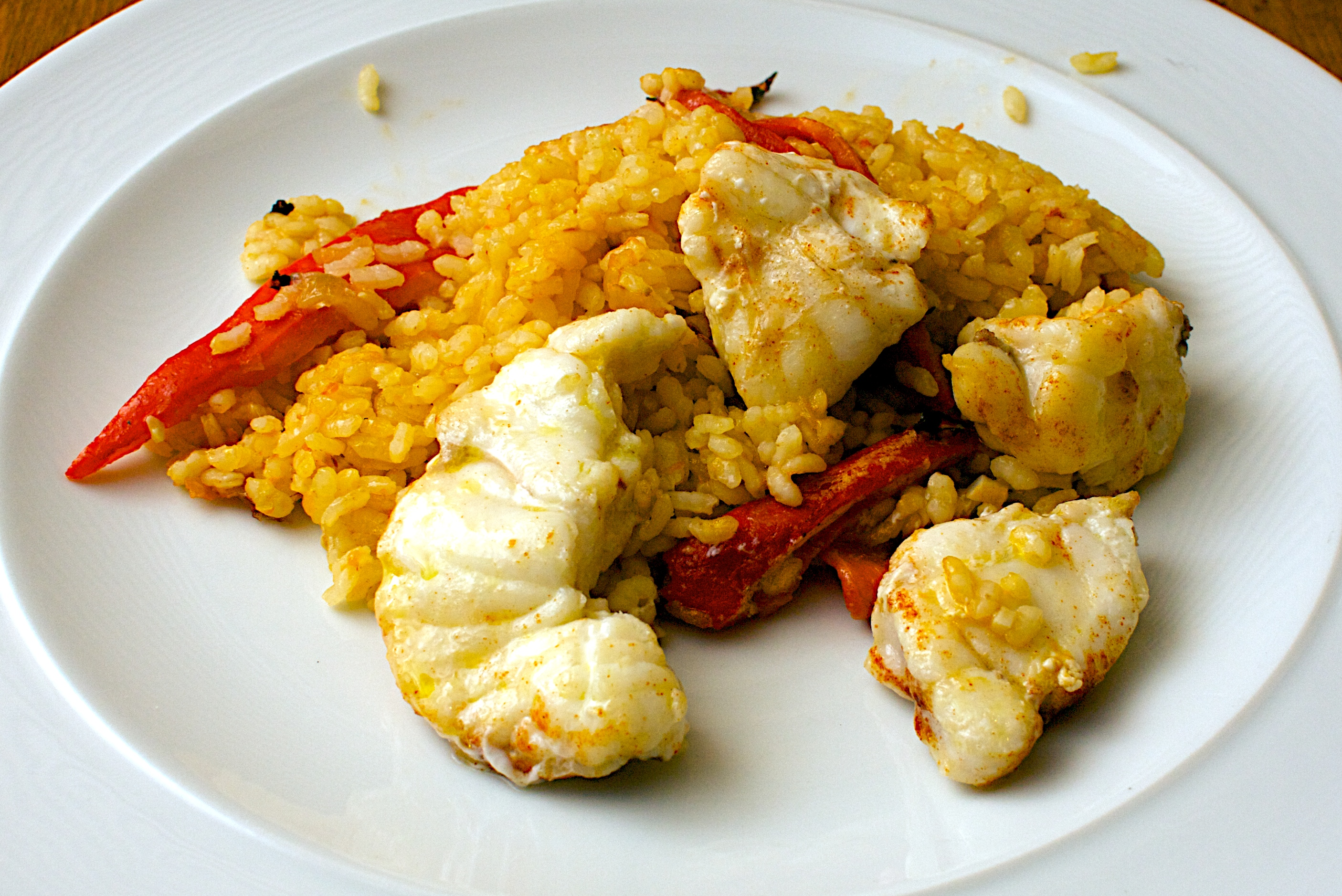 rice with monkfish saffron and red peppers jono jules