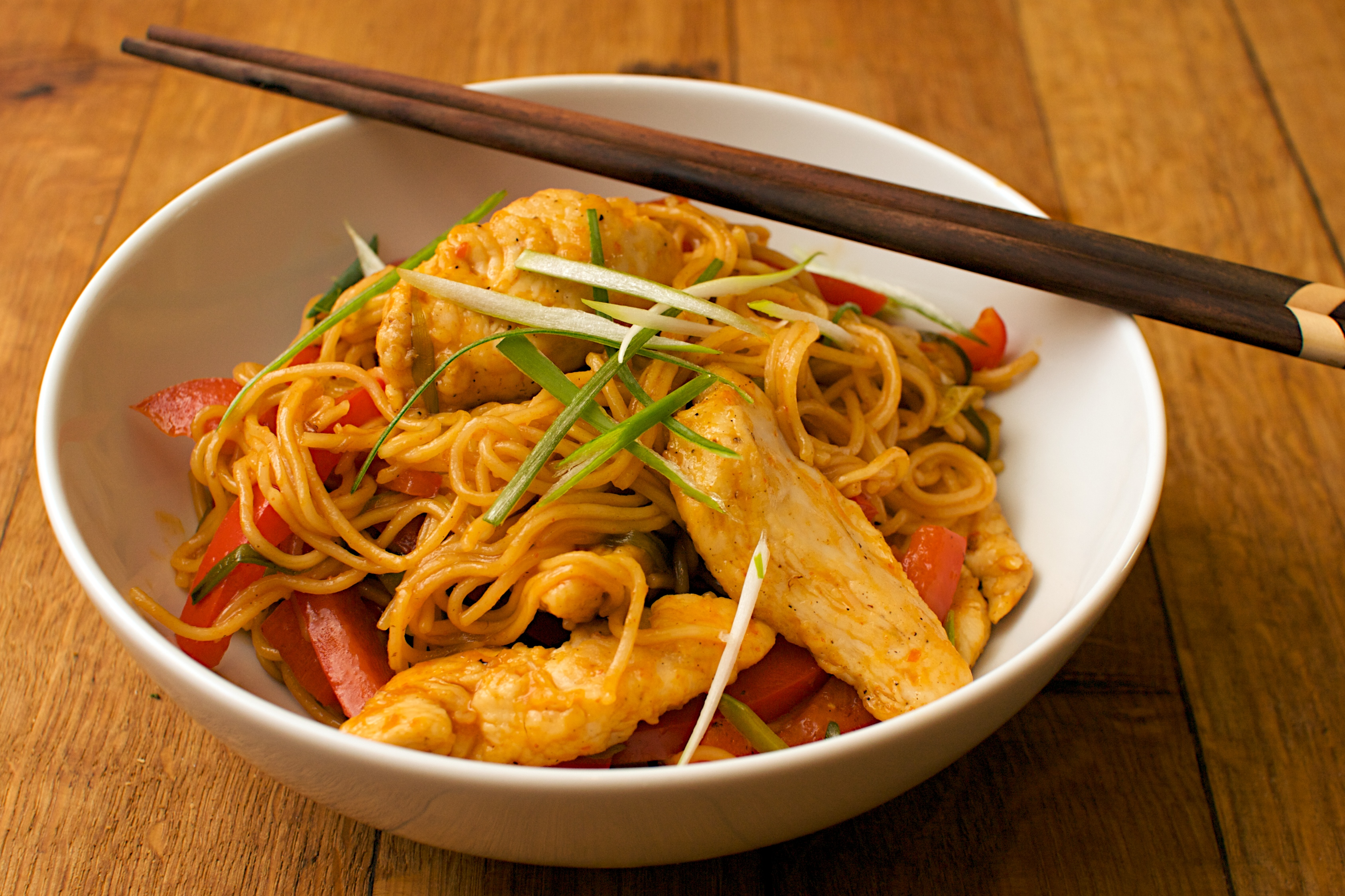 Sticky lemon & chilli chicken noodles | Jono & Jules do food & wine