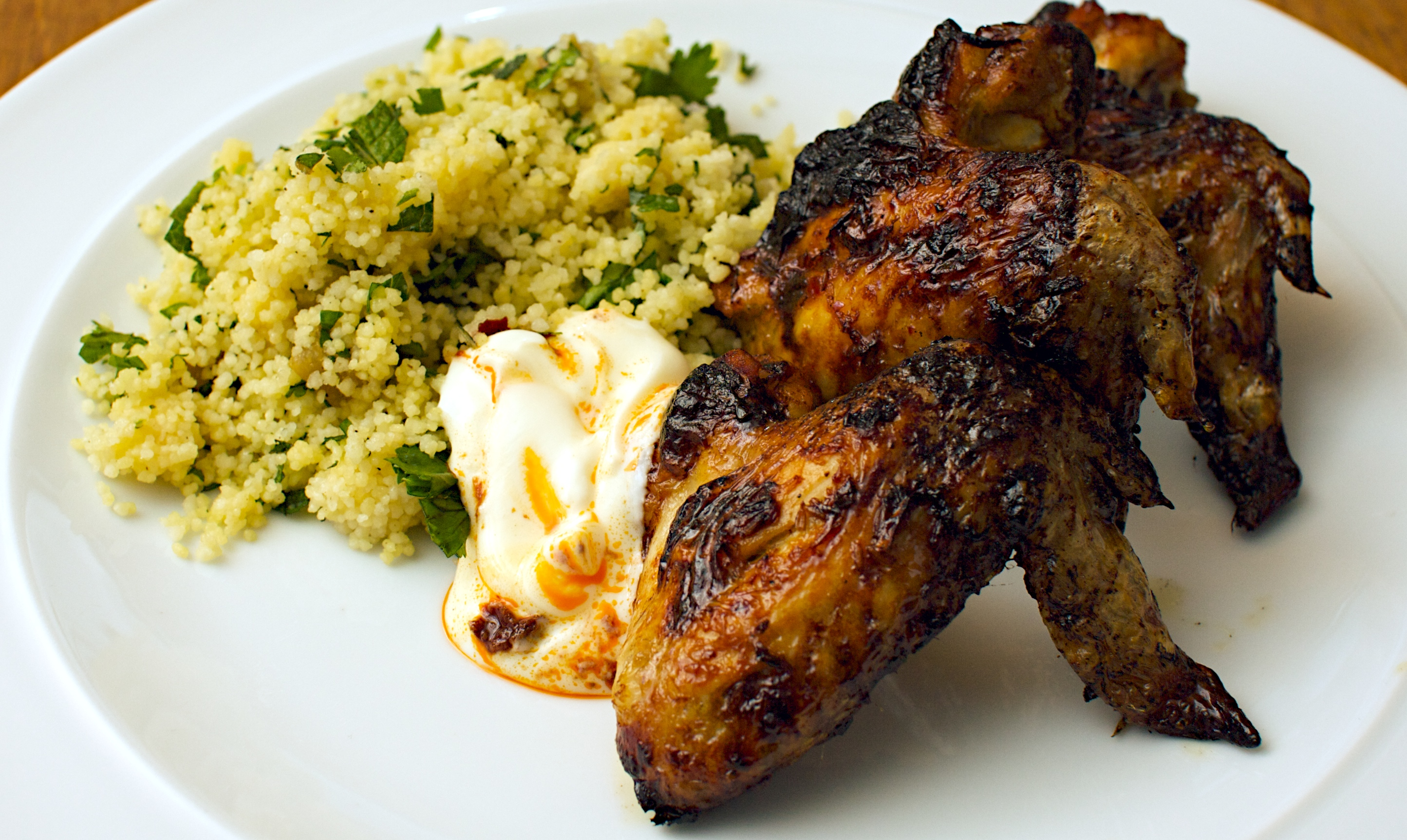 Moroccan chicken wings with herby couscous jono jules do food wine delicious forumfinder