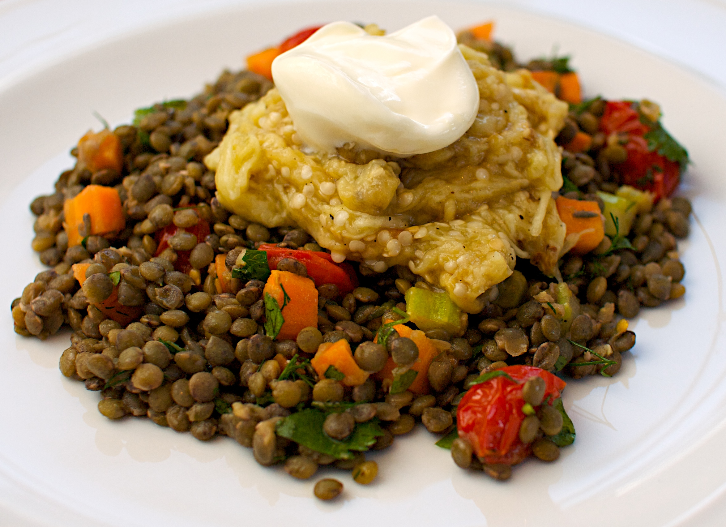 Lentils with grilled aubergine jono jules do food wine for Aubergine cuisine