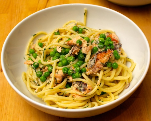 Hot Smoked Salmon Spaghetti