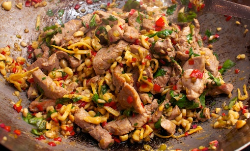 Pork with Cashews, Lime & Mint