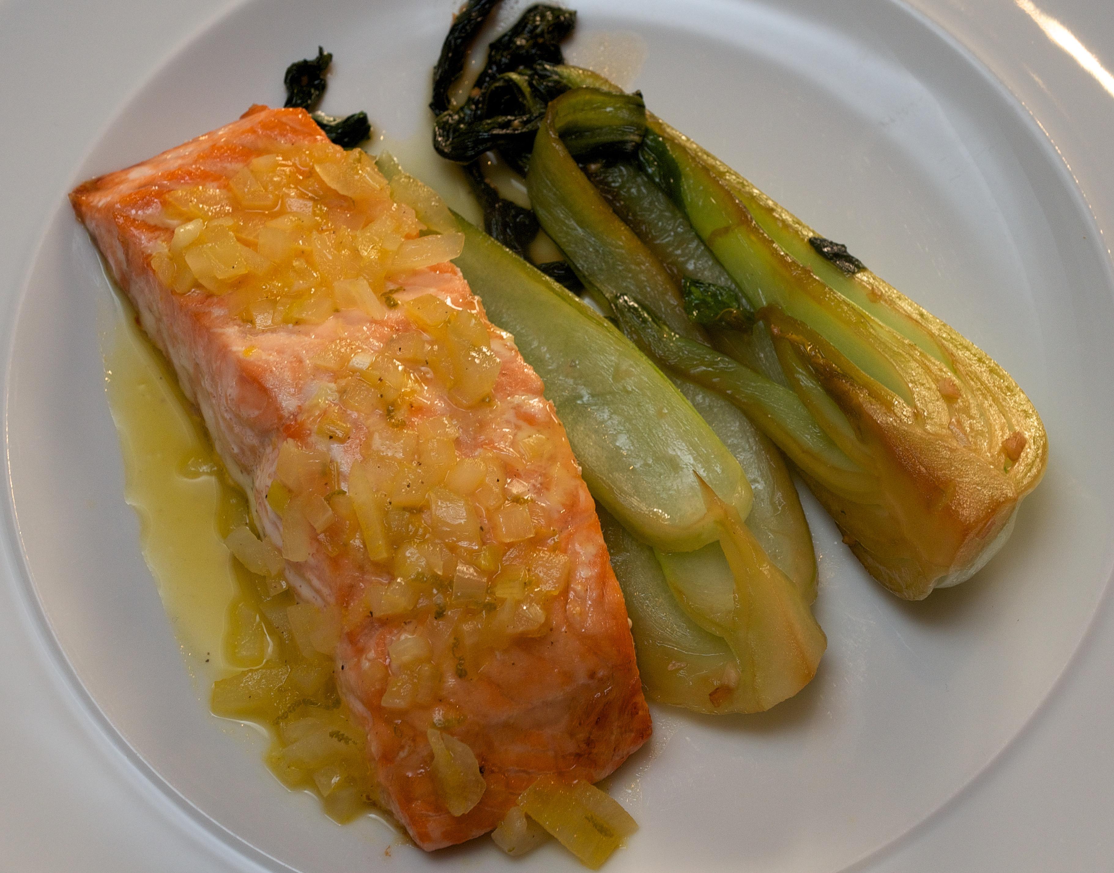 citrusy salmon with garlic pak choi jono jules do food wine. Black Bedroom Furniture Sets. Home Design Ideas