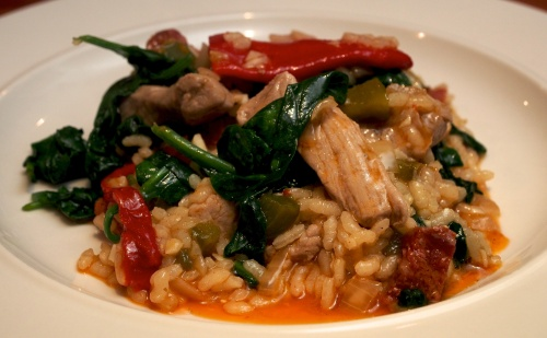 Pork, chorizo & spinach paella