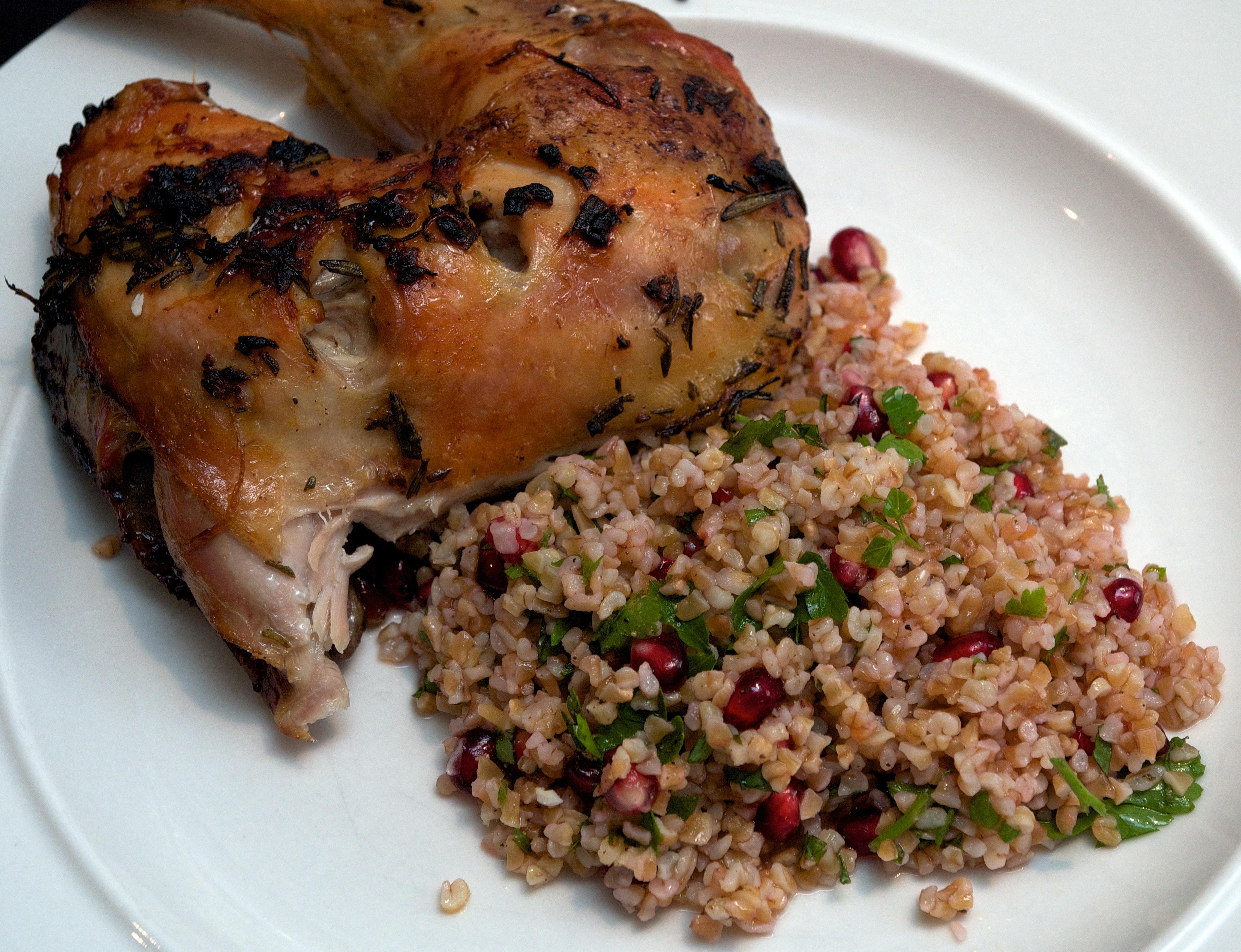 Rosemary & garlic spatchcock chicken with bulgur wheat salad
