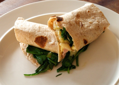 Spinach omelette chapati wrap