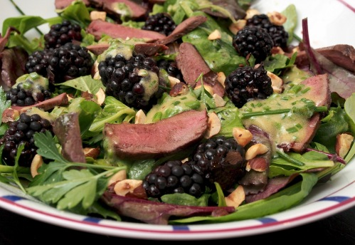 Wood Pigeon salad with blackberries and hazelnuts