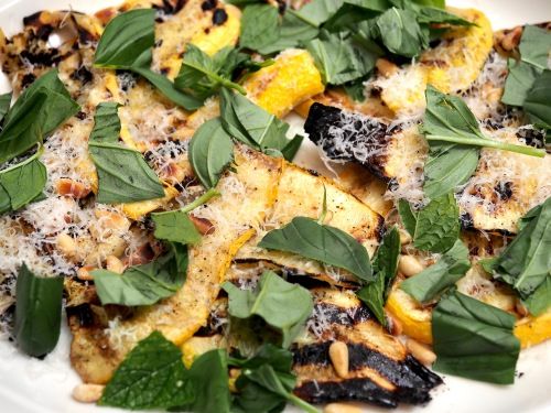 Griddled courgettes with parmesan & basil