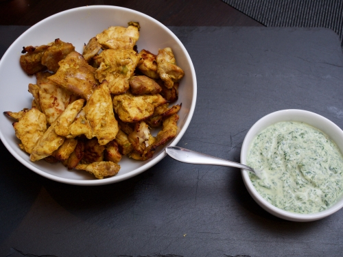 Chicken tikka with mint chutney