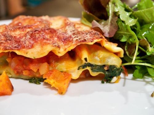 Roast pumpkin and spinach lasagne