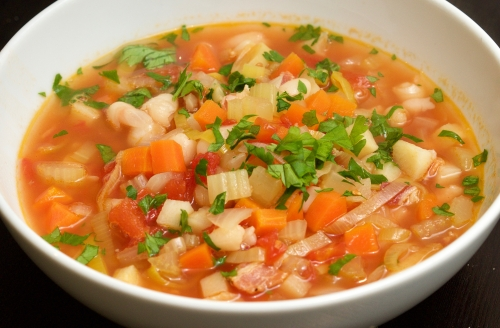 Winter vegetable and bean soup with Kabanossi