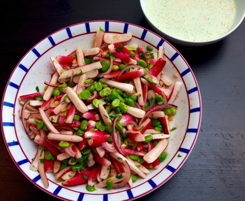 Radish & broad bean salad