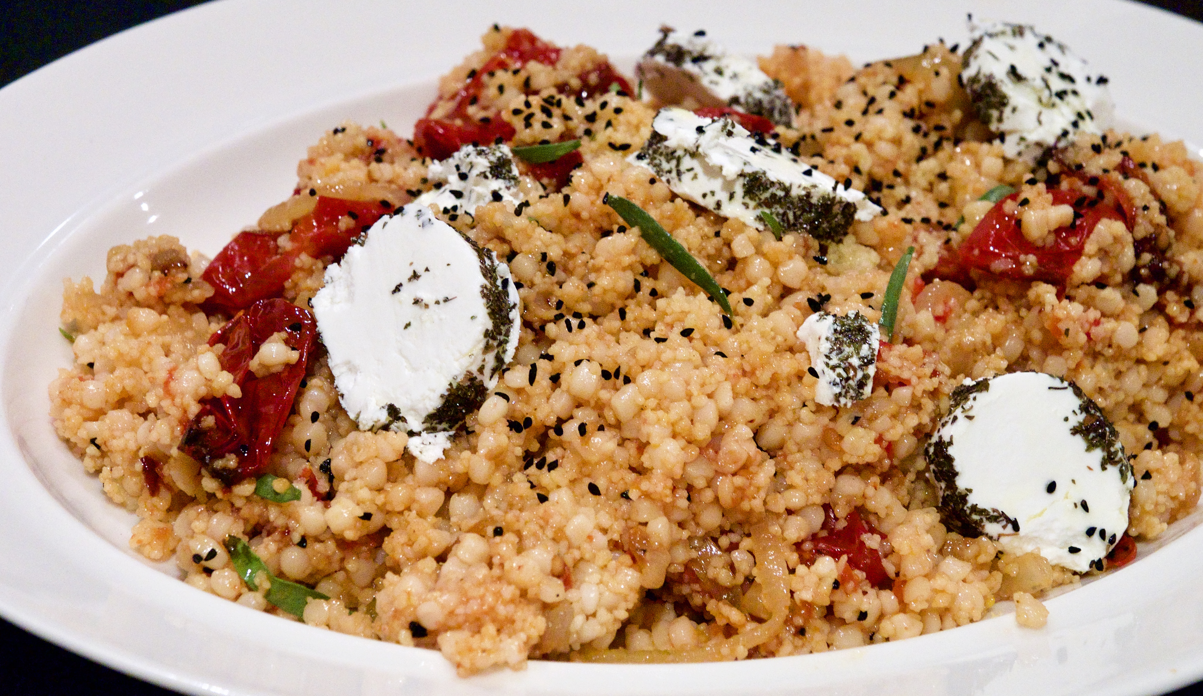 Couscous and mograbiah with oven-dried tomatoes