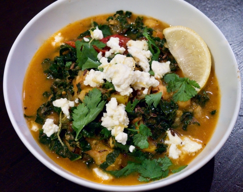 Maroccan kale, chickpea and squash stew