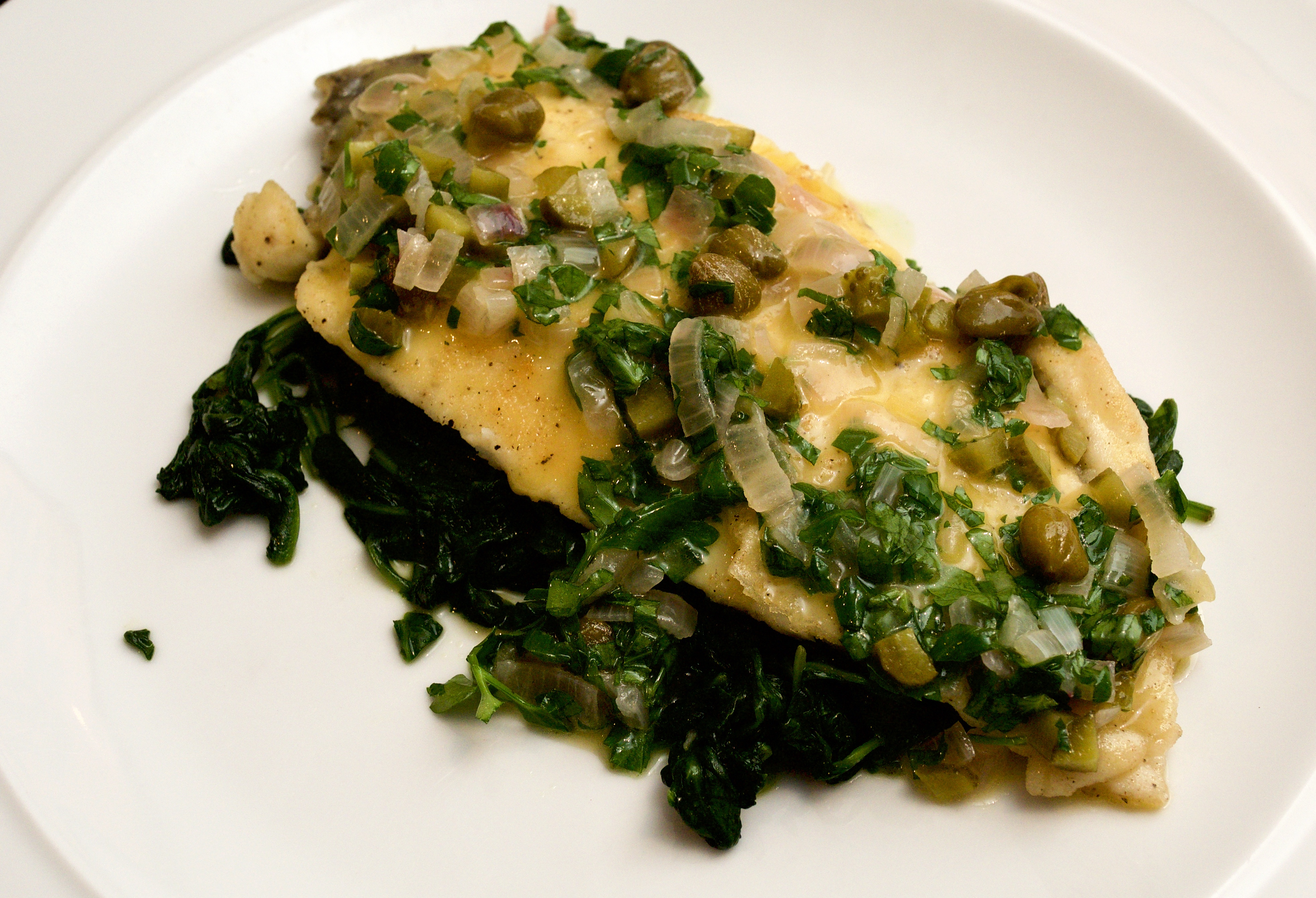 Plaice with warm tartare butter sauce