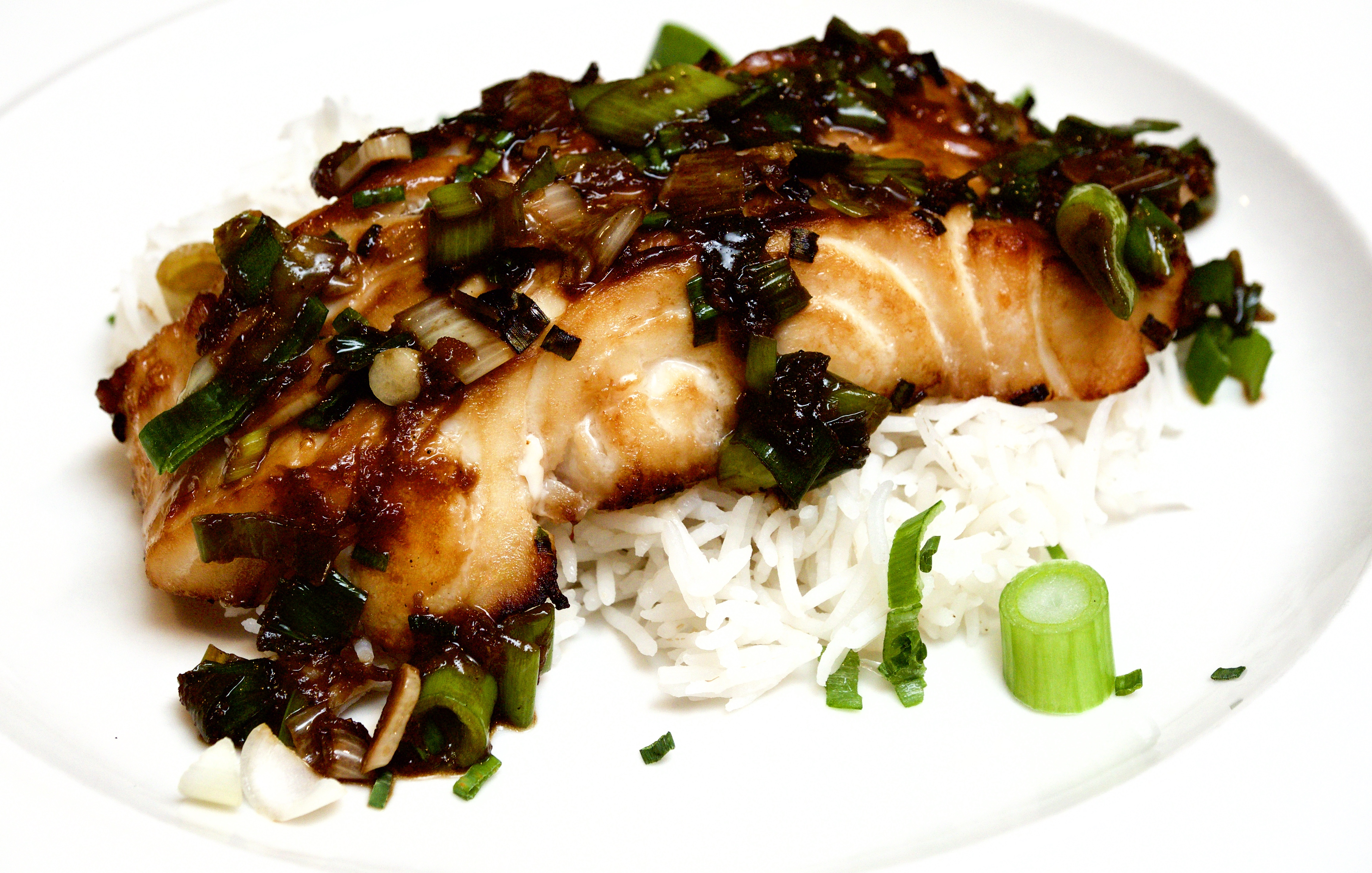 Cod with a soy and chive marinade