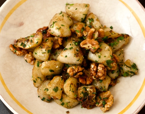 Fried Jerusalem Artichokes with Walnuts