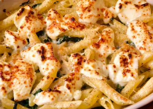 Penne with blue cheese sauce