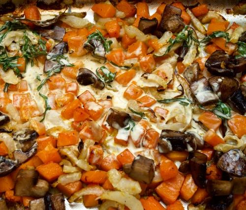 Roast pumpkin & fennel with mushrooms