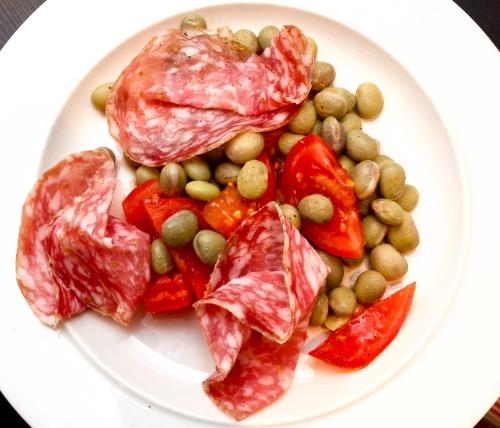 Finocchiona salami with fresh Borlotti beans