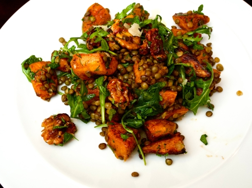 Spiced Sweet Potato, Puy Lentils and Rocket with Honey-roasted Walnuts