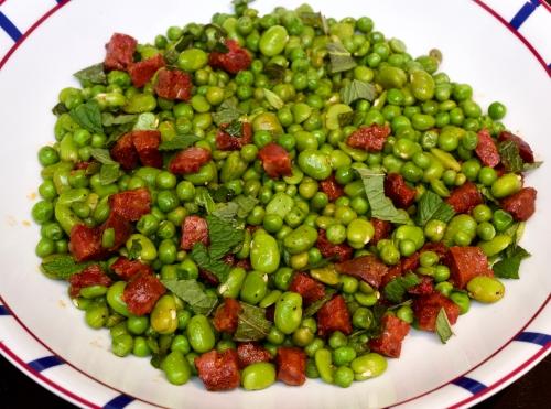 Broad Beans, Peas, Chorizo & Mint