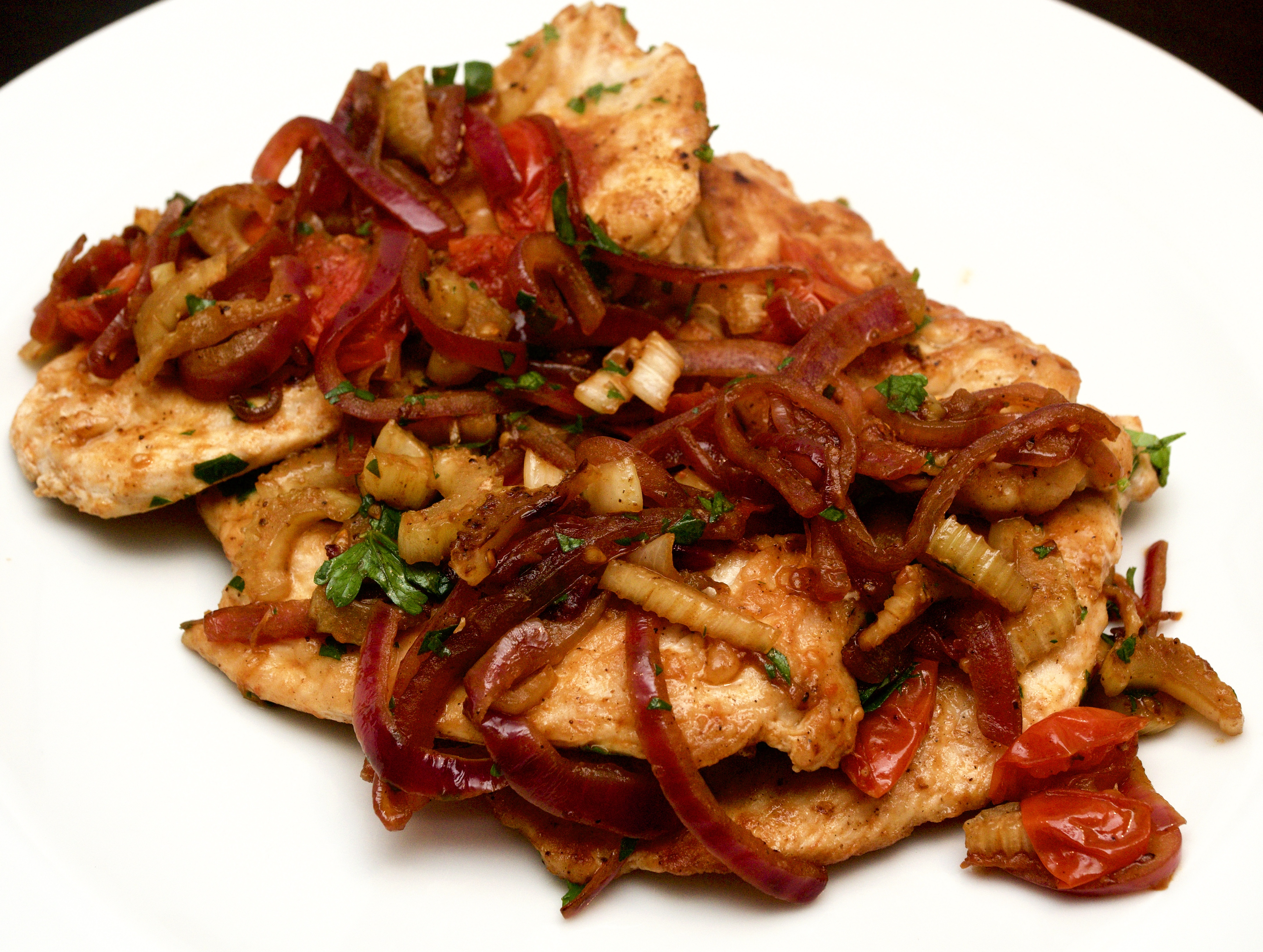 Chicken with an agrodulce sauce