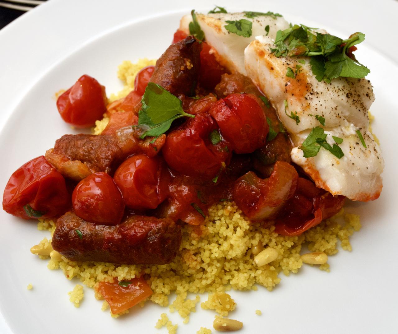 Spicy Merguez & Cod tray-bake