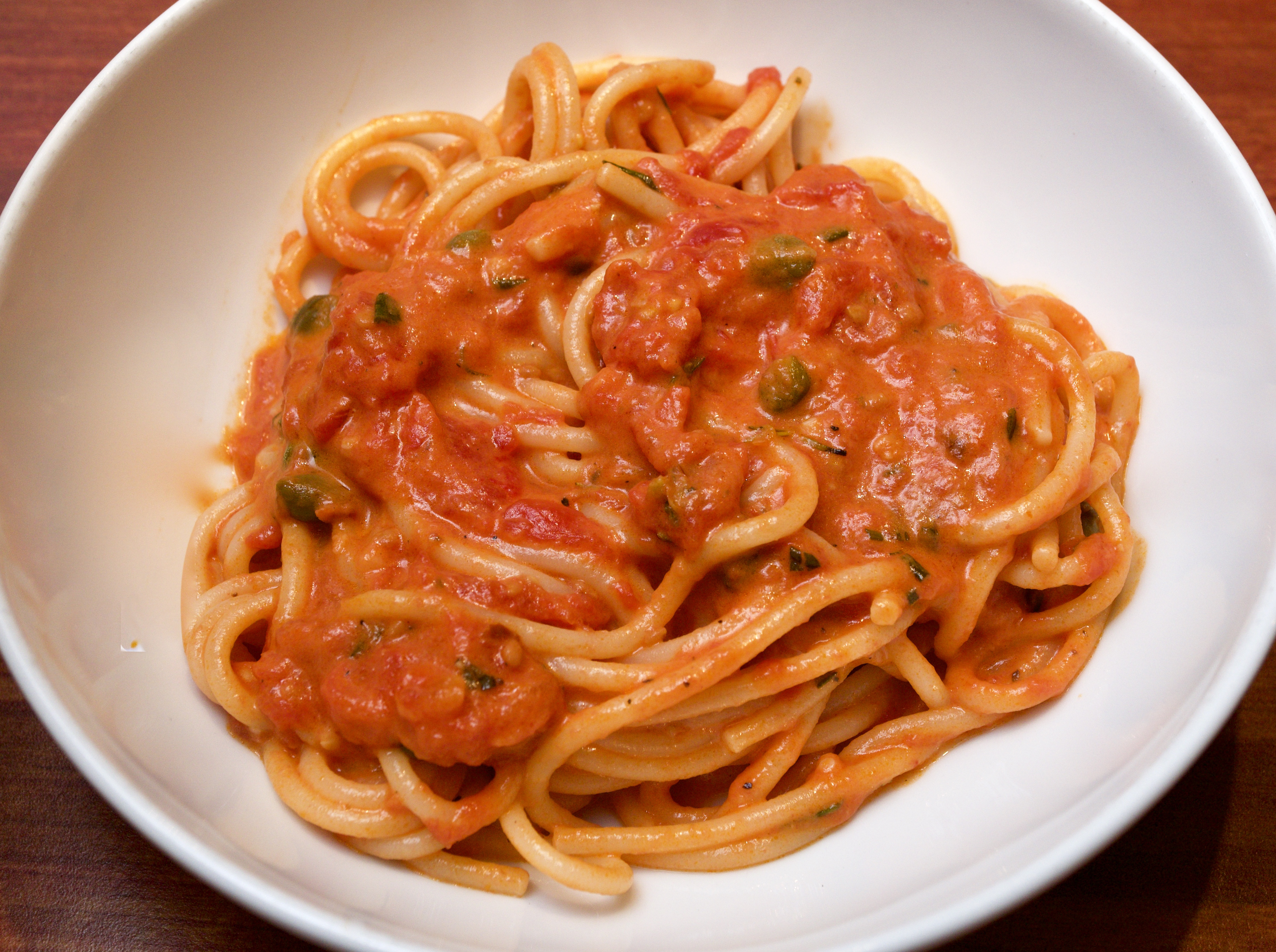 Linguine with Creamy Tomato, Rosemary & Caper Sauce