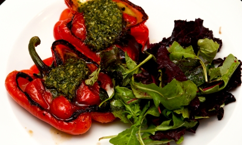 Blistered peppers, pomodorini, mozzarella & pesto