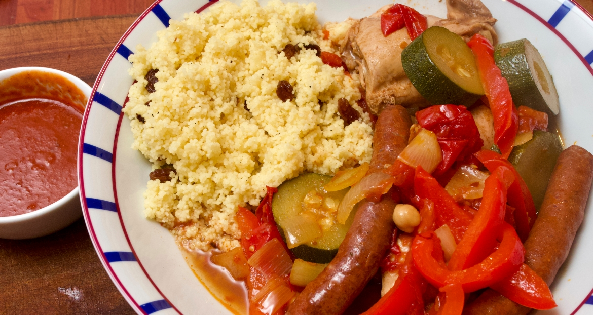 Merguez pot au feu with couscous