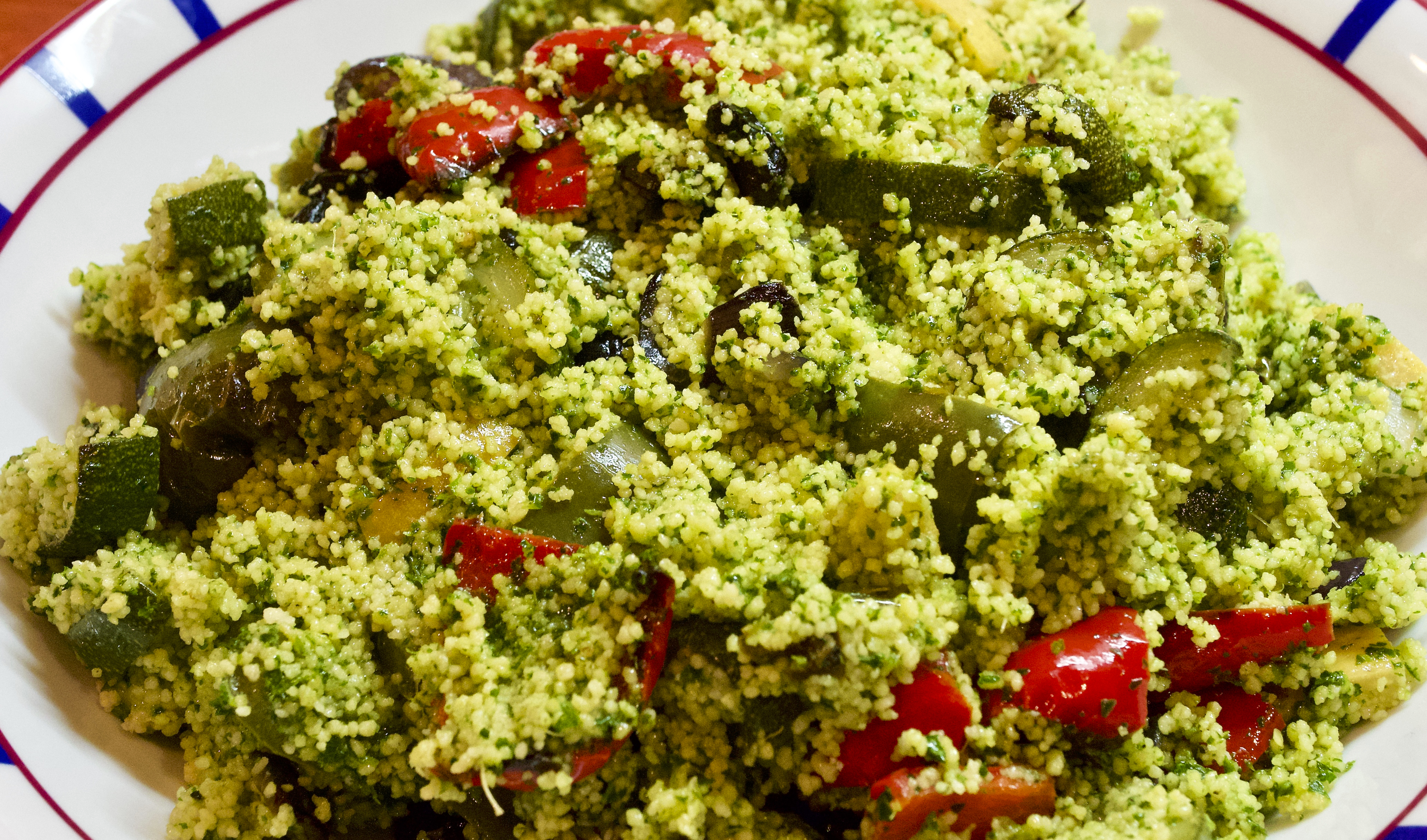 Green couscous and roasted veg with black garlic and preserved lemon