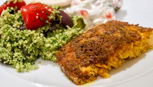 Lemon, turmeric & black pepper salmon
