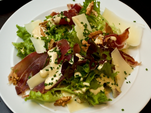 Smoked ham salad, with shaved Gruyere, Escarole & Walnuts