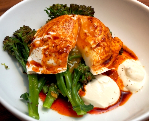 Purple sprouting broccoli with smoked paprika, yoghurt & eggs