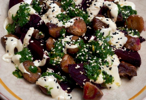 Roasted Beetroot Salad with Burnt Chestnuts