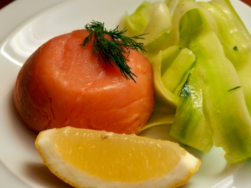 Smoked salmon & crab timbales with cucumber parpadelle