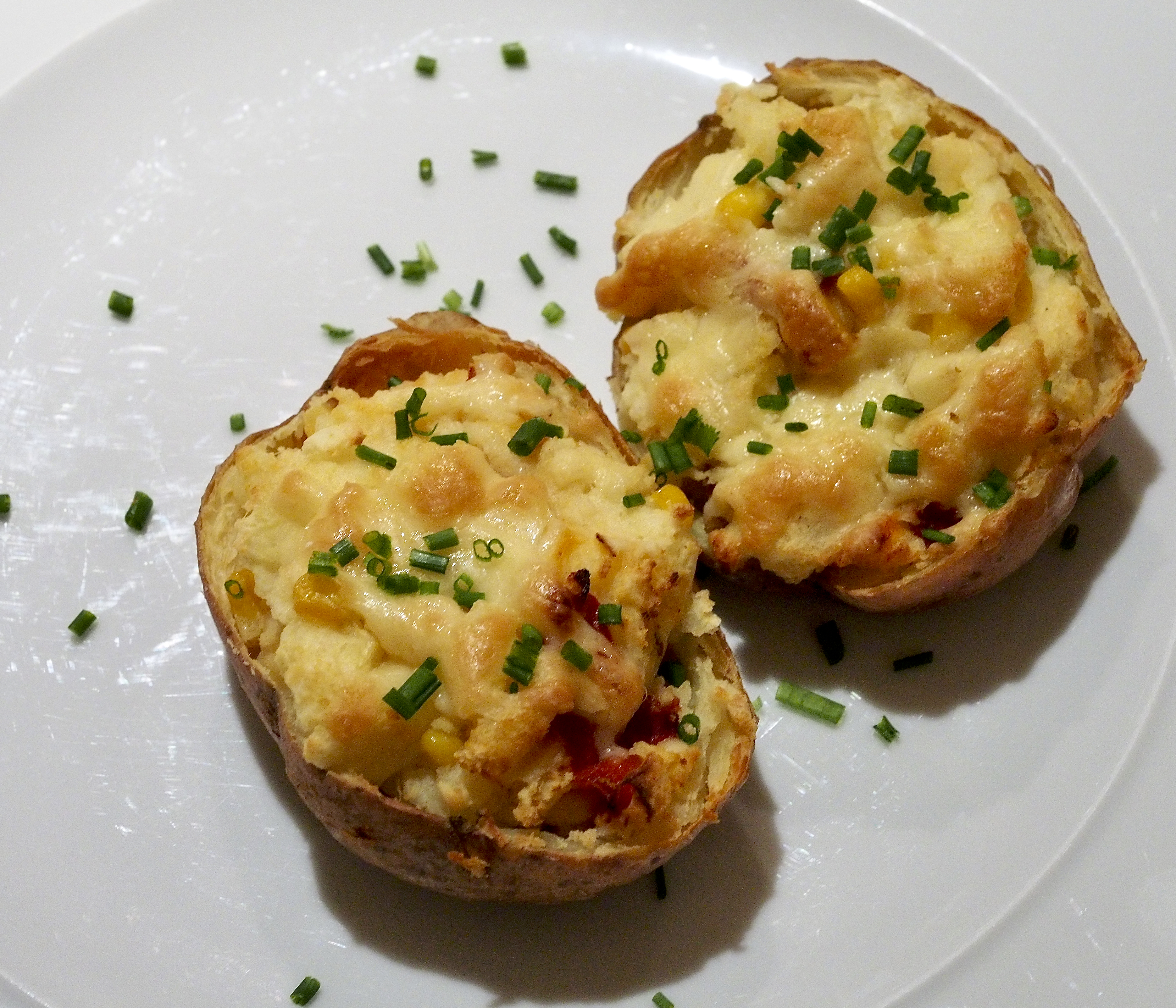 Cheesy Jacket Potatoes with Sweetcorn & Roasted Peppers