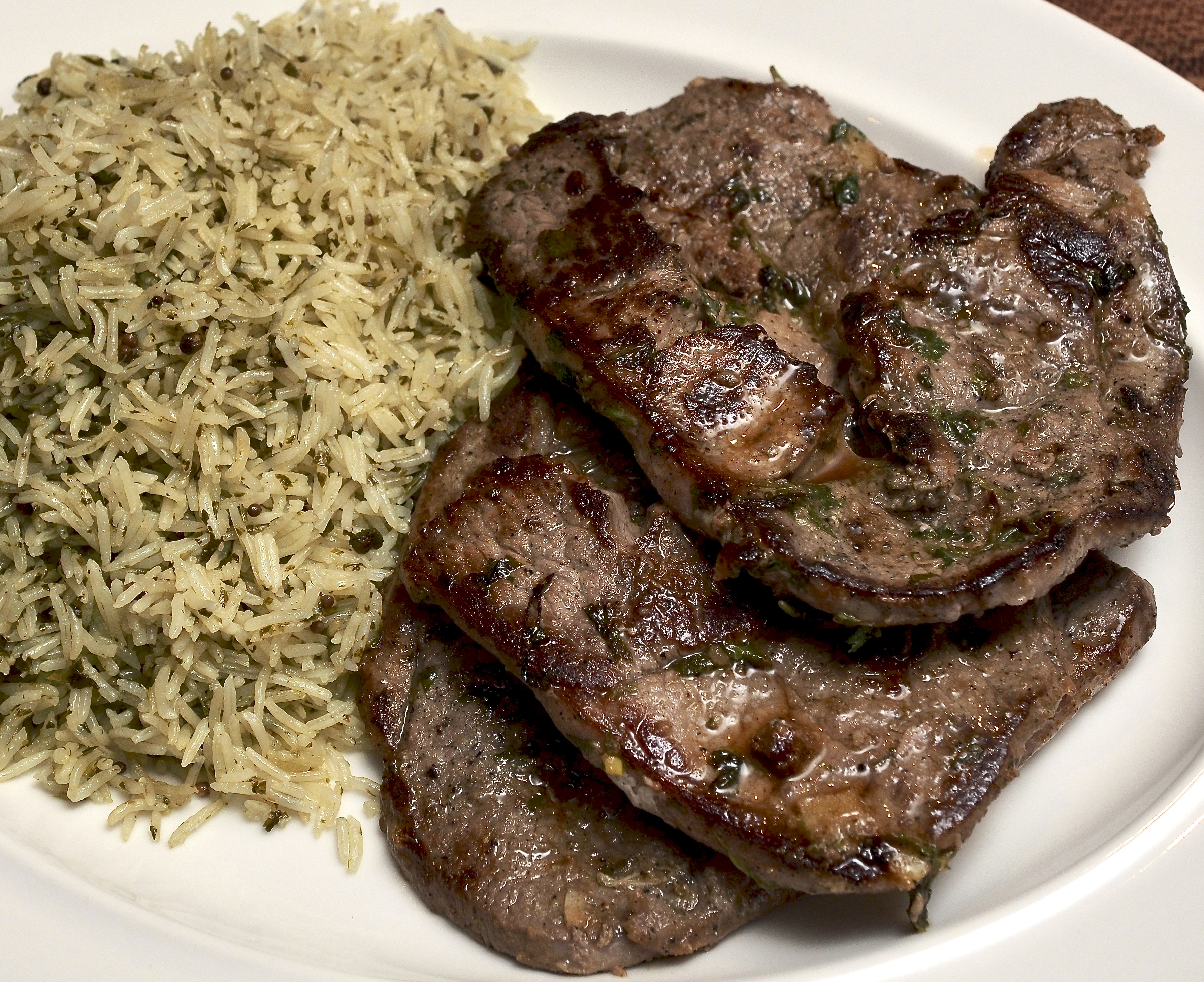 Lamb Steaks, preserved lemon, coriander & garlic with a Coriander, lime & garlic rice