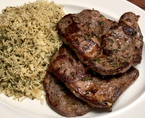 Lamb Steaks, preserved lemon, coriander & garlic with a Coriander, lime & garlic rice