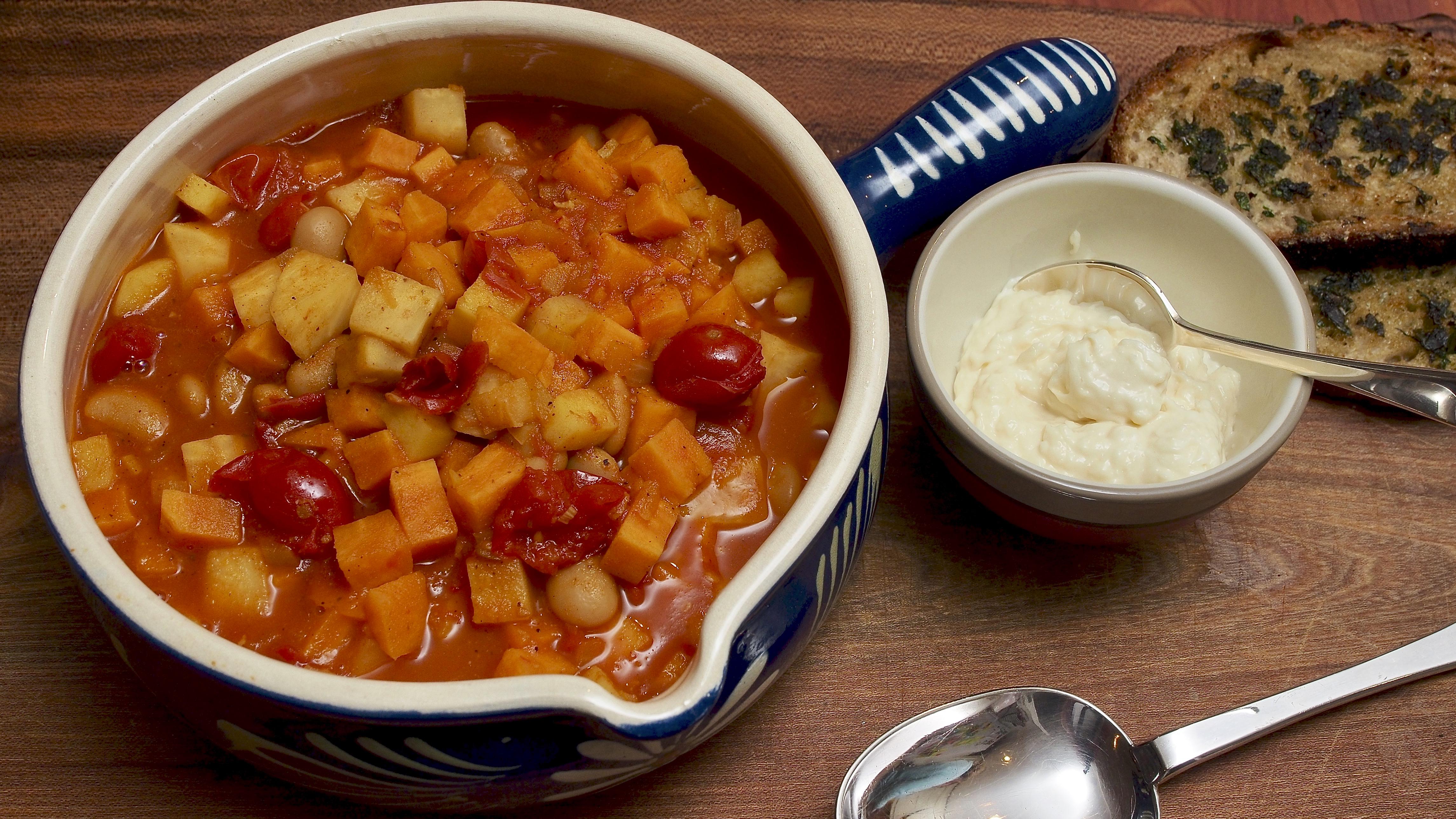 Veg Stew with saffron, curry & parmesan cream