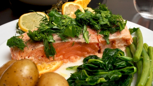 Confit Salmon with Citrus & Herb Salad