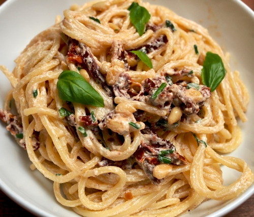 Spaghetti with Ricotta & Toasted Pine Nuts