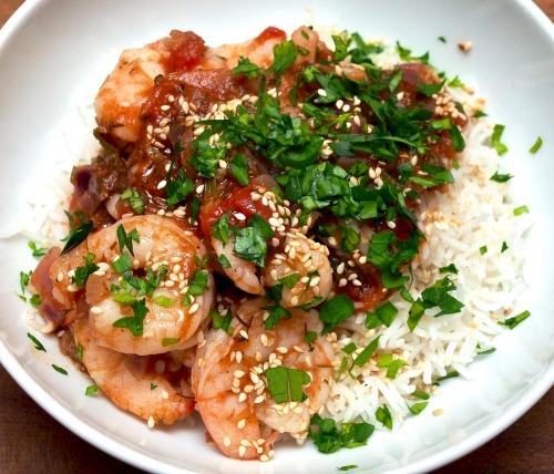 Spicy prawn & tomato stew