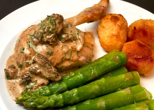 Roast Chicken with Morels