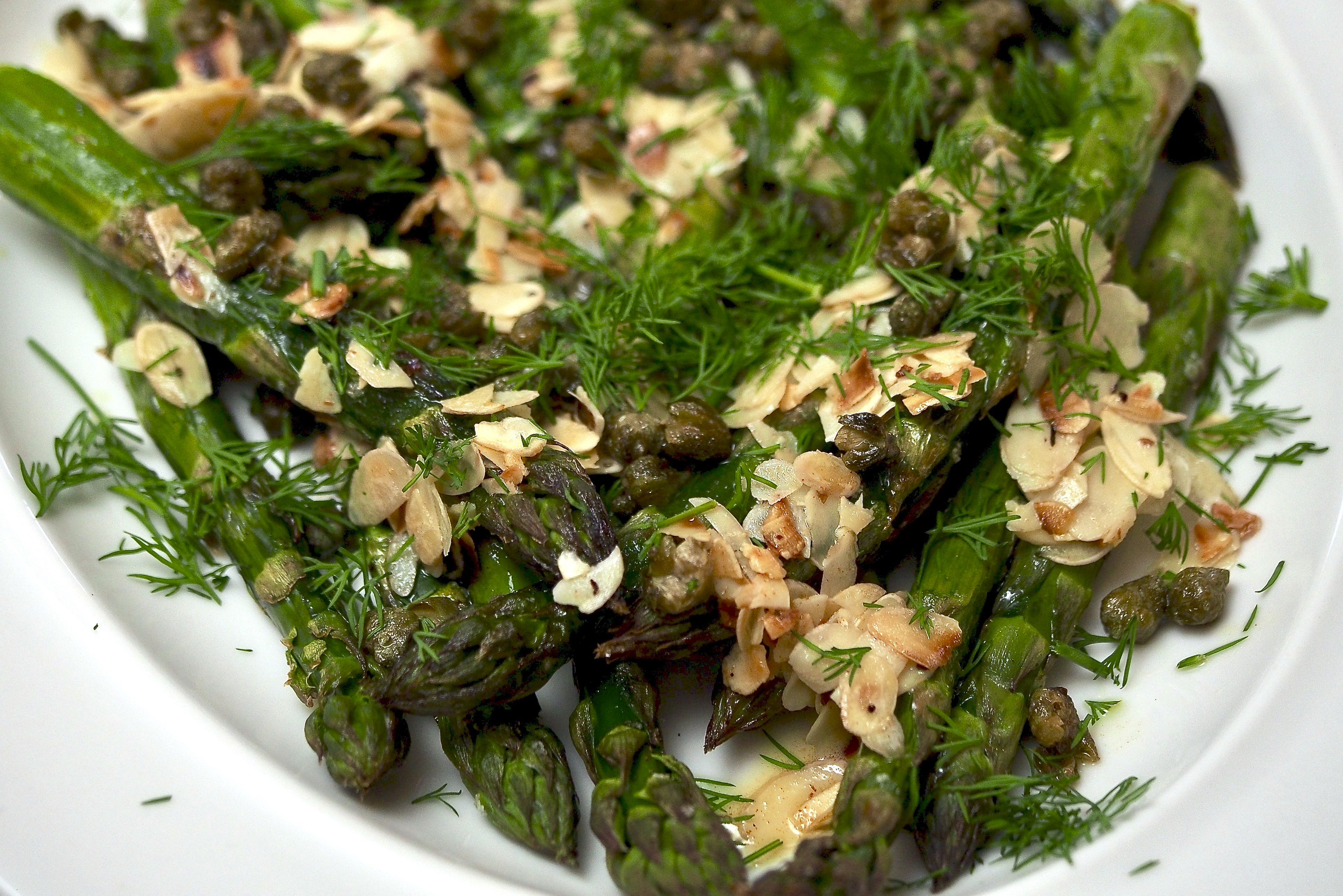 Roasted Asparagus with Almonds, Capers & Dill