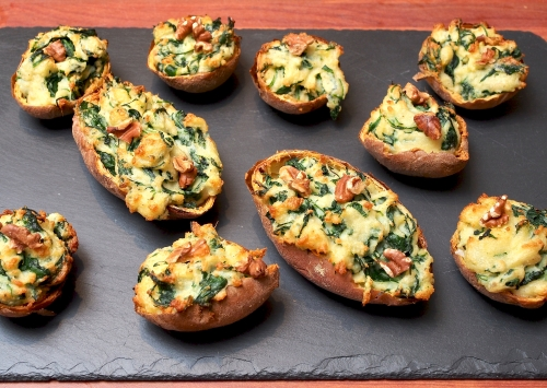 Spinach & Gorgonzola-stuffed Jacket Potatoes